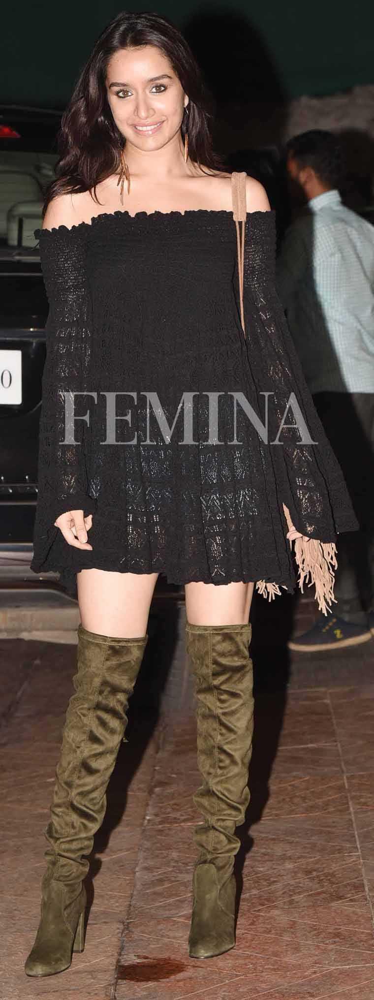 Shraddha-Kapoor-lace-dress-denim-shorts-thigh-high-boots
