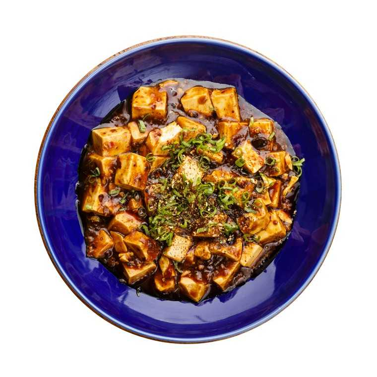 Mapo tofu, spring onion, black bean and chilli flakes
