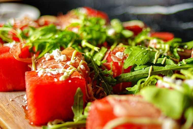Compressed watermelon and feta salad