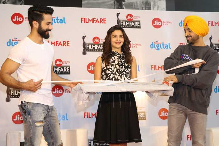 Shahid Kapoor Alia Bhatt and Diljit Dosanjh unveiling the Awards Special issue of Filmfare Magazine