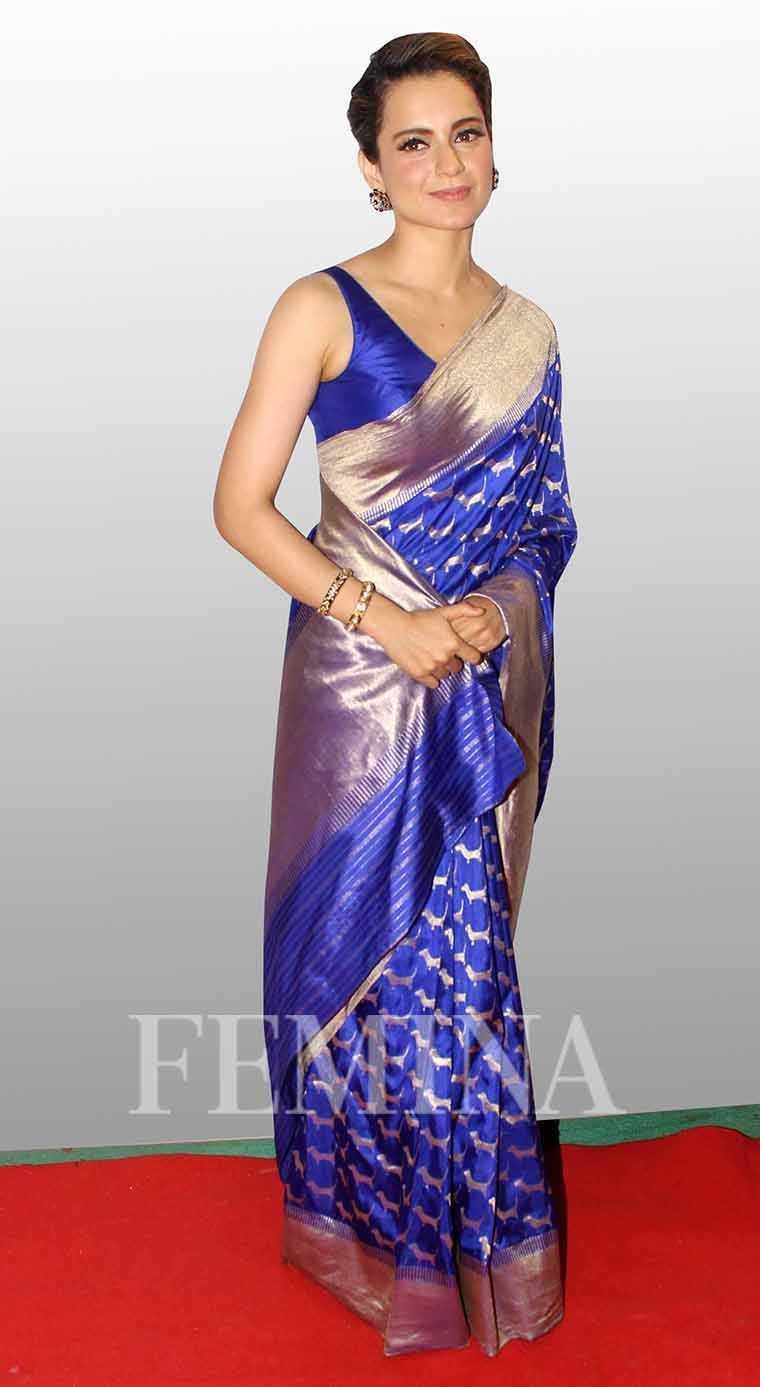 Kangana Ranaut winning sari look in a royal blue hand-woven sari