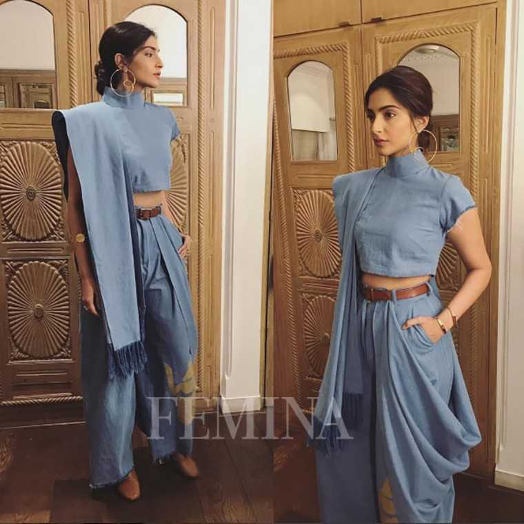 Sonam Kapoor. We love her in this blue-grey fusion number from Masaba