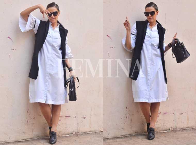 neha-dhupia-sleeveless-coat-white-dress
