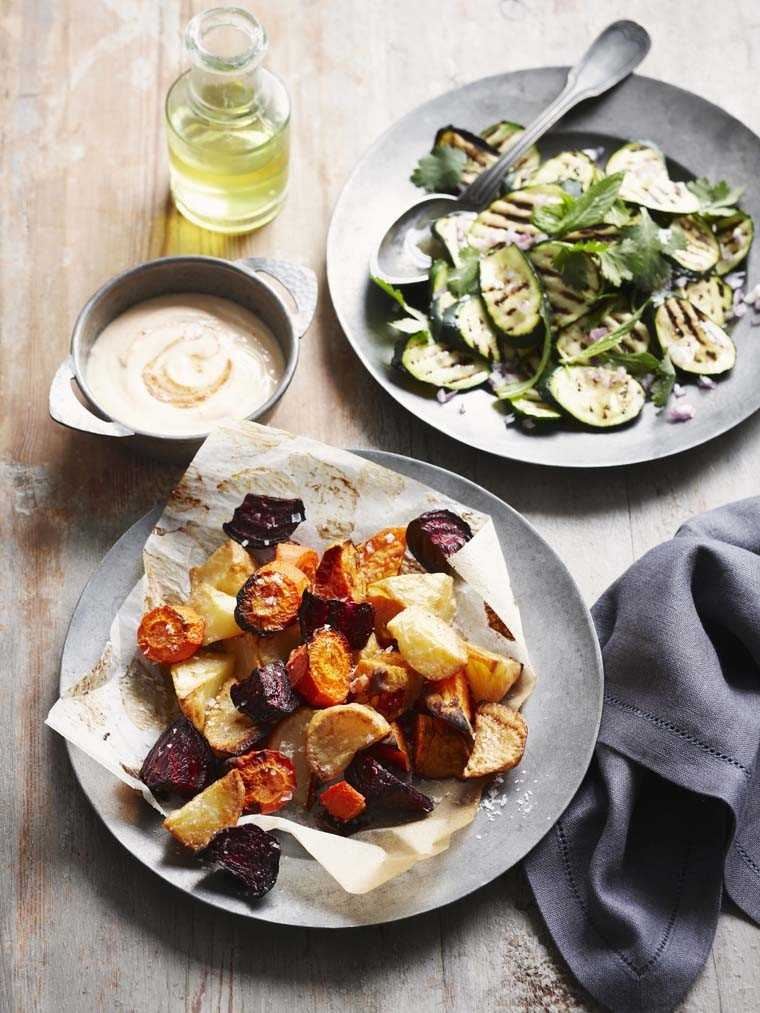 Oven-roasted root vegetables with grilled zucchini salad