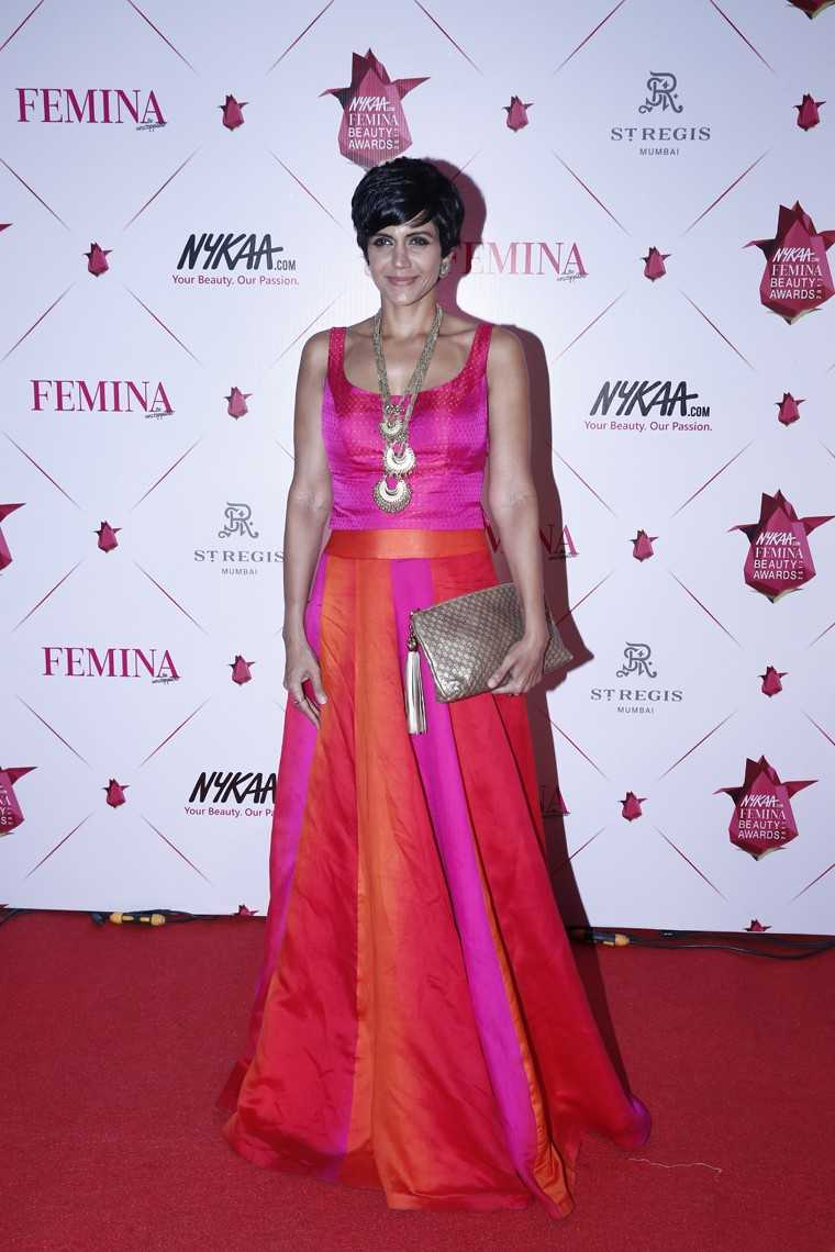 Mandira Bedi in bright separates