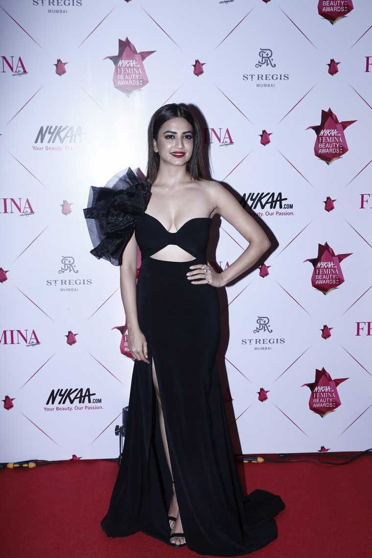 Kriti Kharbanda in a sexy black gown with cutouts