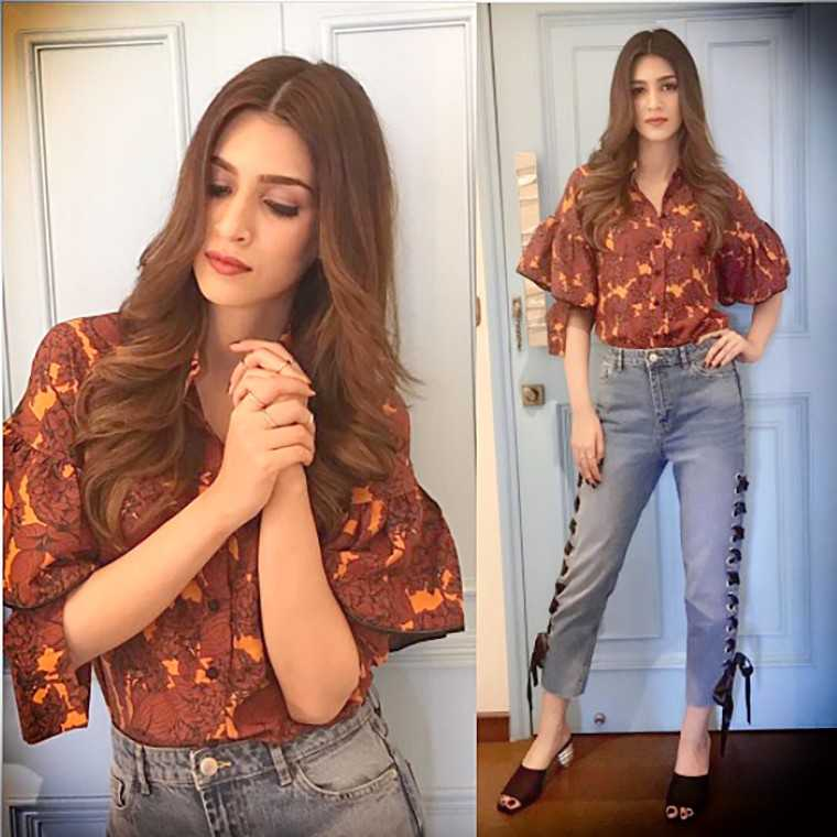 Dhruv Kapoor shirt with exaggerated sleeves and lace-up denims from Bershka