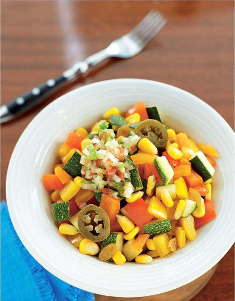Mexican corn salad with zucchini, onion and jalapenos