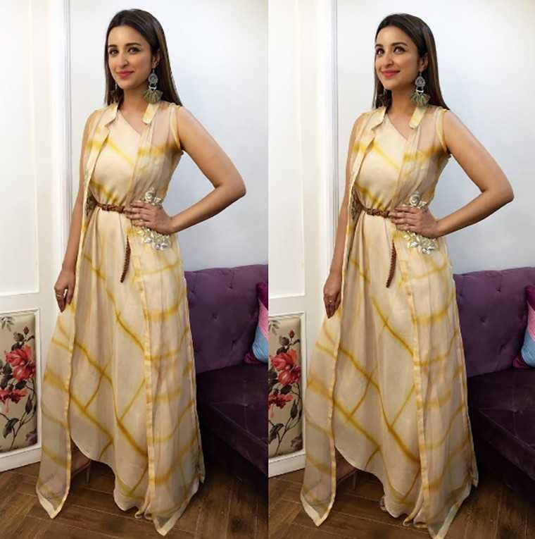 Parineeti Chopra Anoli Shah outfit paired with those quirky Ritka Sachdeva earrings