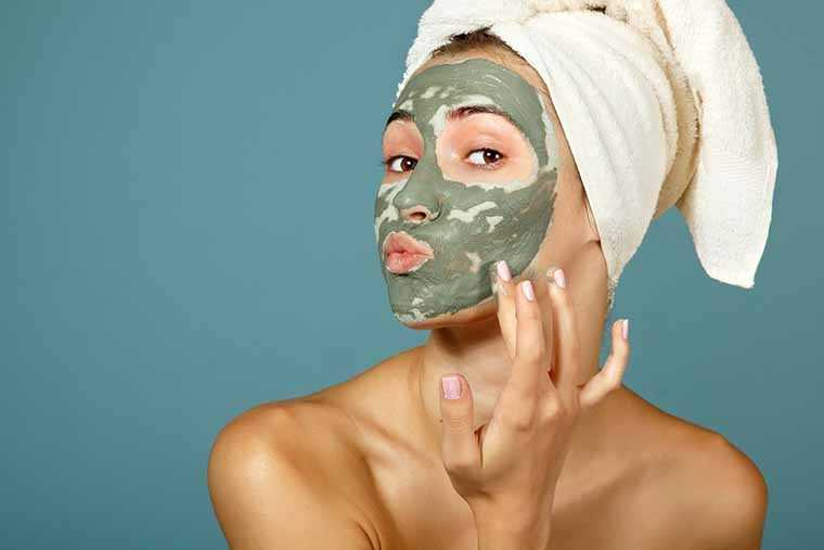 clay-based face mask twice a day
