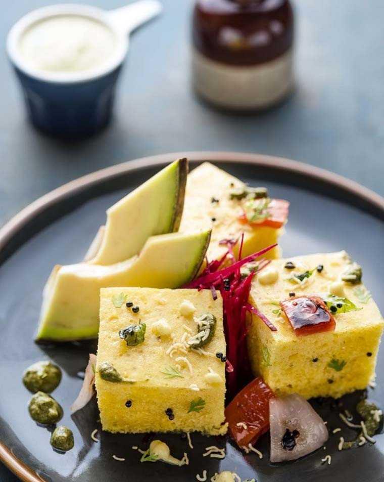 Dhokla and avocado salad