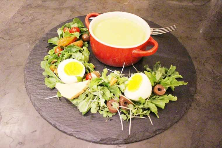 Asparagus and water cress soup with egg salad