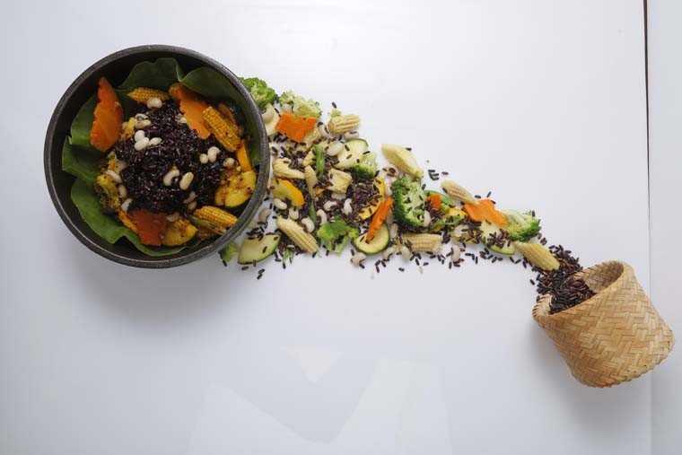 Black sticky rice with black-eyed peas & pickled stir-fried veggies