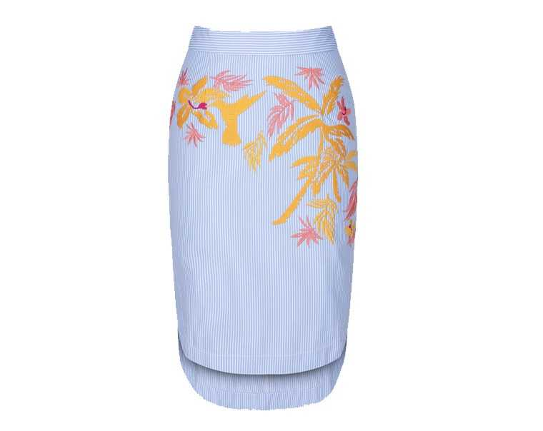 Embroidered poplin scoop skirt