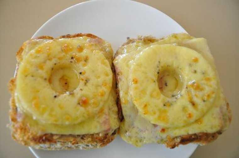 Open-faced pineapple sandwich