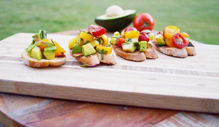 Yellow pear tomato and avocado bruschetta