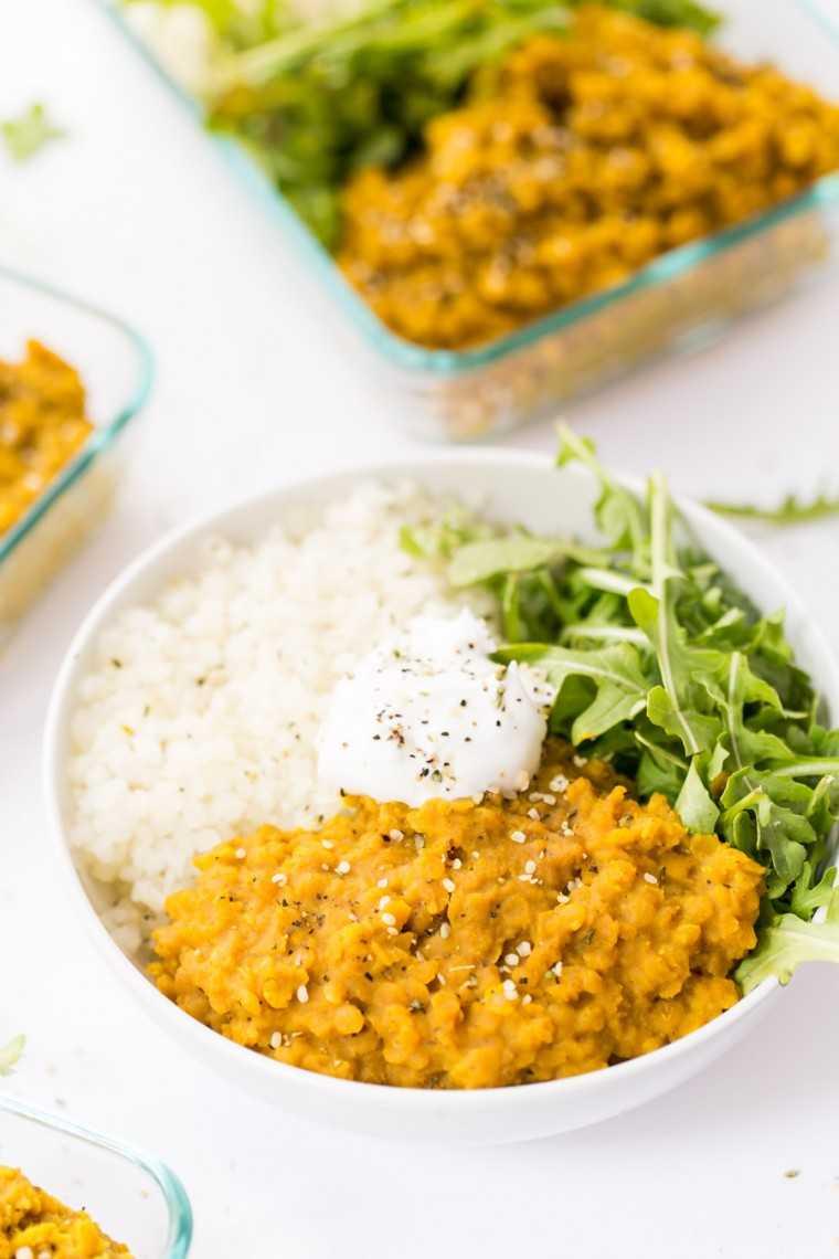 Easy vegan red lentil dal