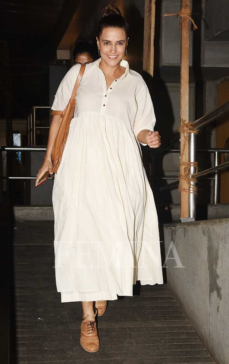 Neha Dhupia white dress by Nafisa Rachel William