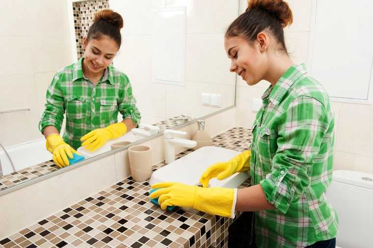 Scrubbing the bathroom