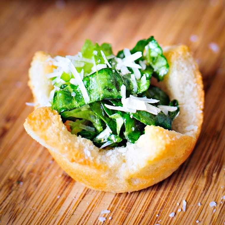 Crouton cups with Caesar salad