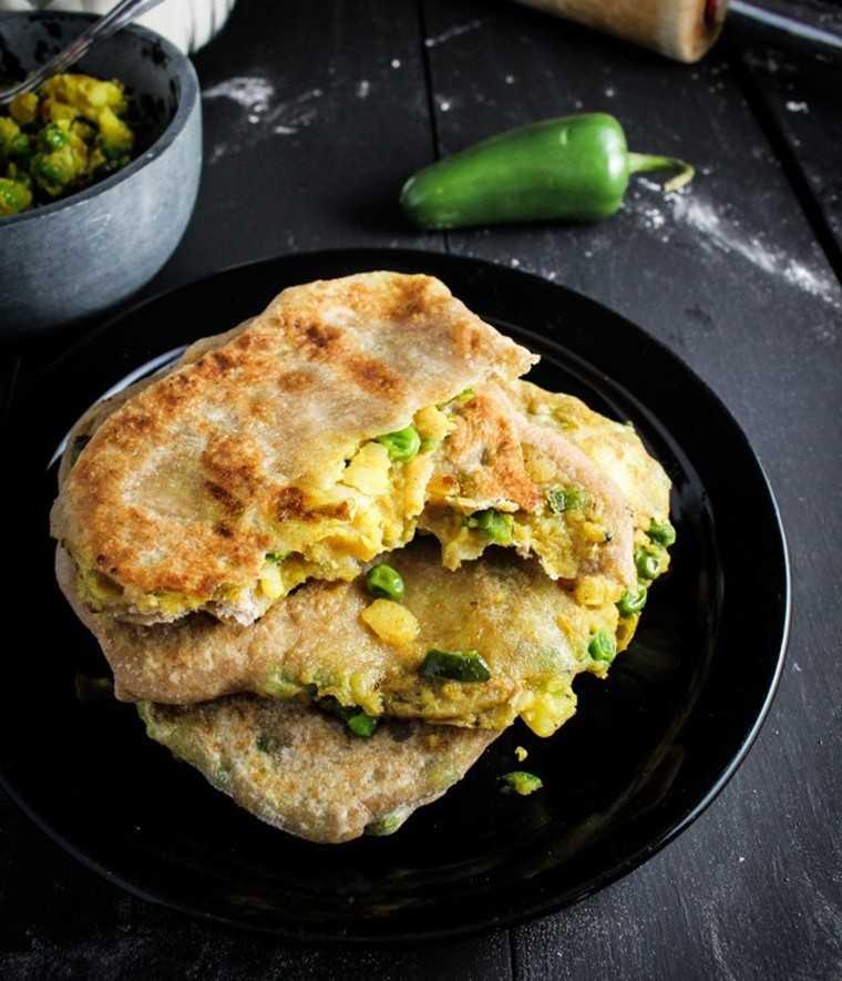 Spicy peas and potato paratha