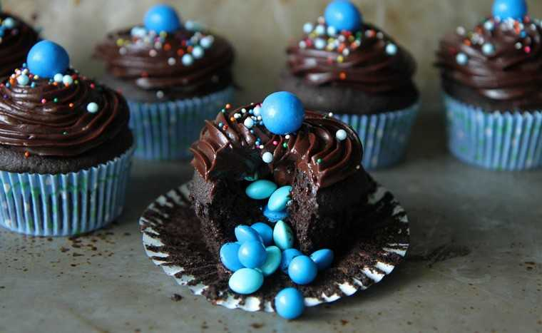 Triple chocolate surprise prize cupcakes