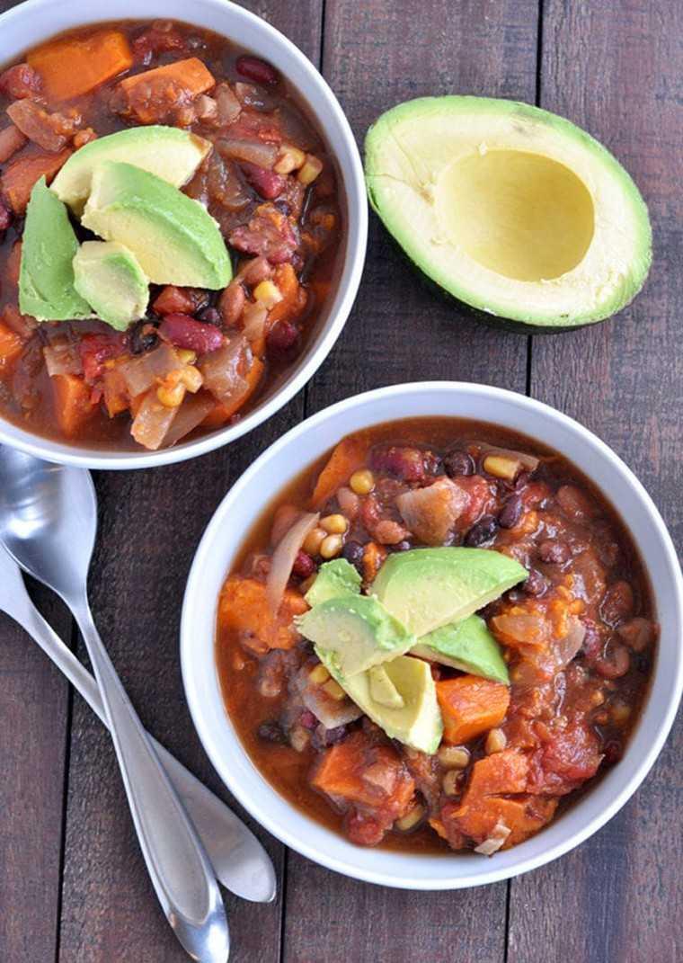 3-bean sweet potato chilli bowl