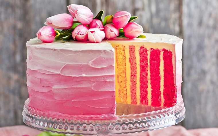 Rose pink vertical striped cake