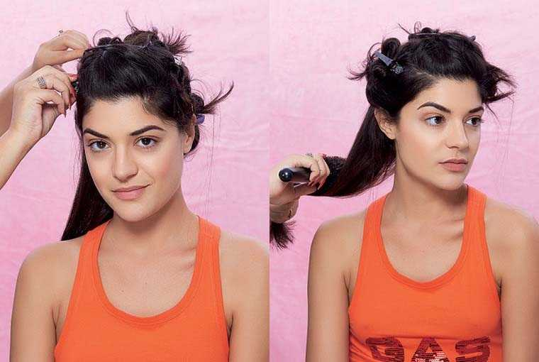 Divide your hair into several sections and pin them up.