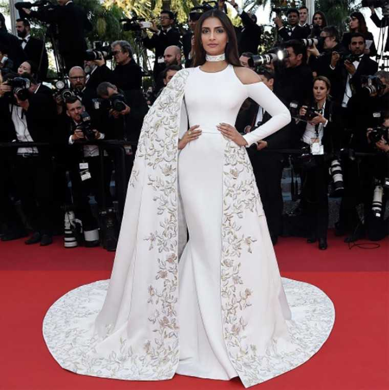 red carpet in a custom Ralph & Russo gown