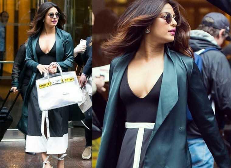 Priyanka layered her monochrome La Ligne dress