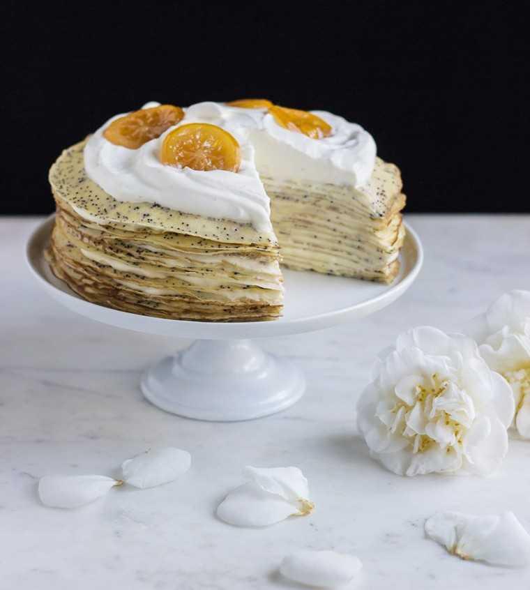 Lemony poppy seed crepe cake by @ful-filled