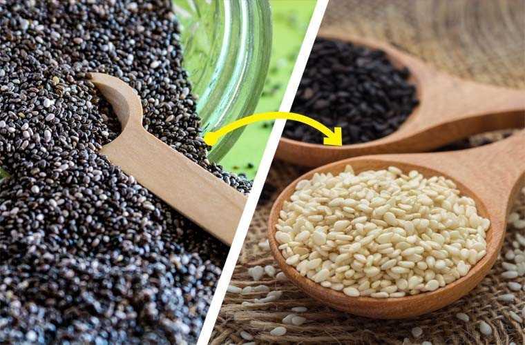 Chia seeds, Sesame seeds