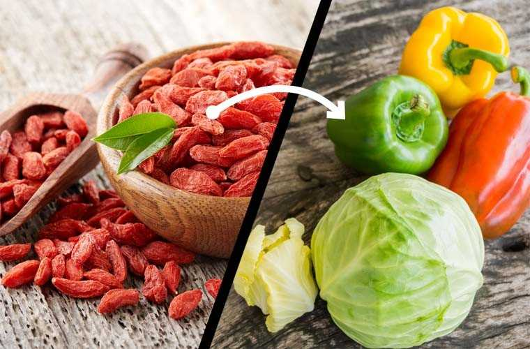Goji berries, Cabbage or peppers