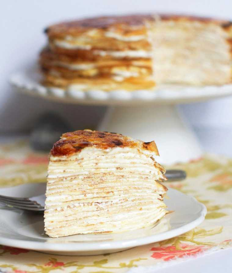 Crème brulee crepe cake by @thebakerchick