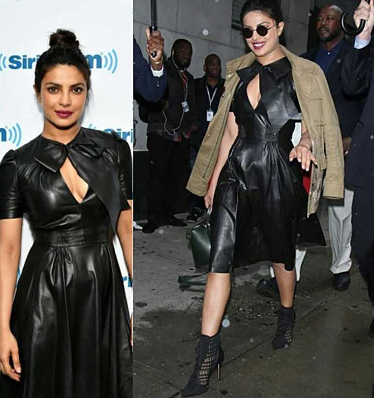 Priyanka Chopra Ralph Lauren leather dress