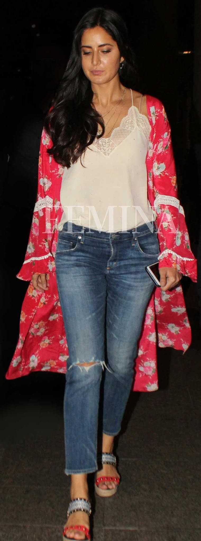 Katrina Kaif floral cover-up with a lace cami
