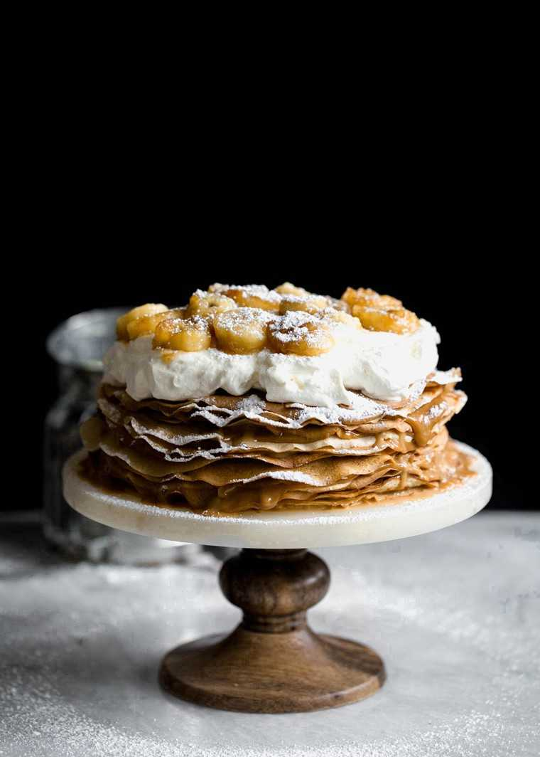 Bananas Foster Dulce De Leche Crepe Cake by @bromabakery