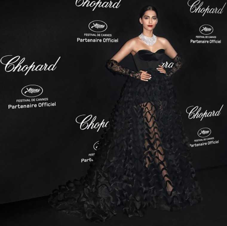 sonam Cannes Film Festival 2016 in a strapless black gown