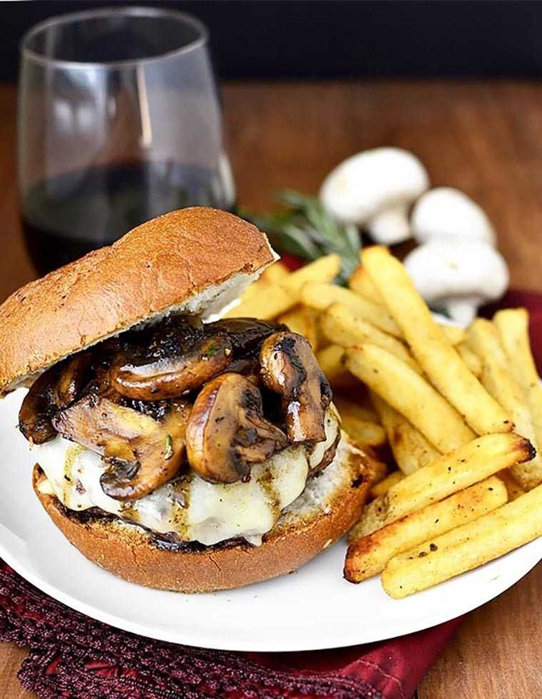 Homemade burgers with mushroom sauce