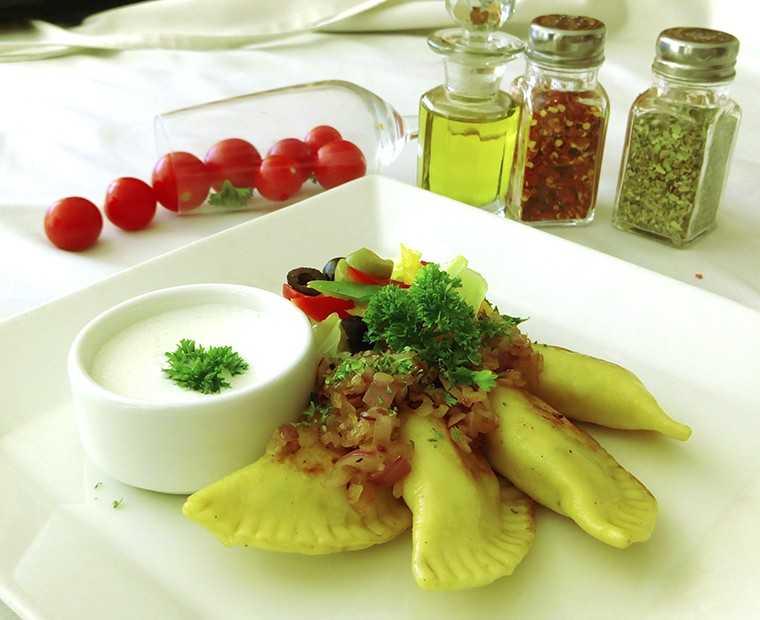 Pan-fried potato and cheese pierogi
