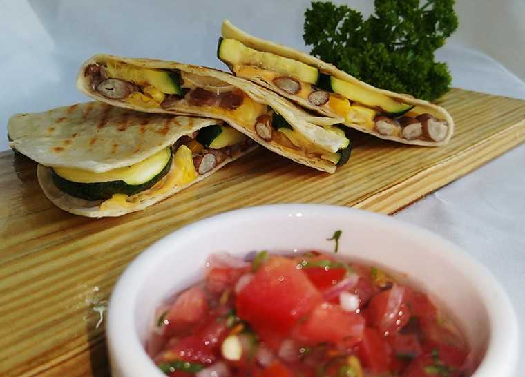 Zuchini, beans and corn quesadilla
