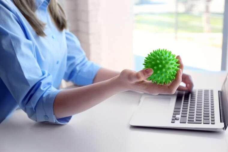 Using a stress ball