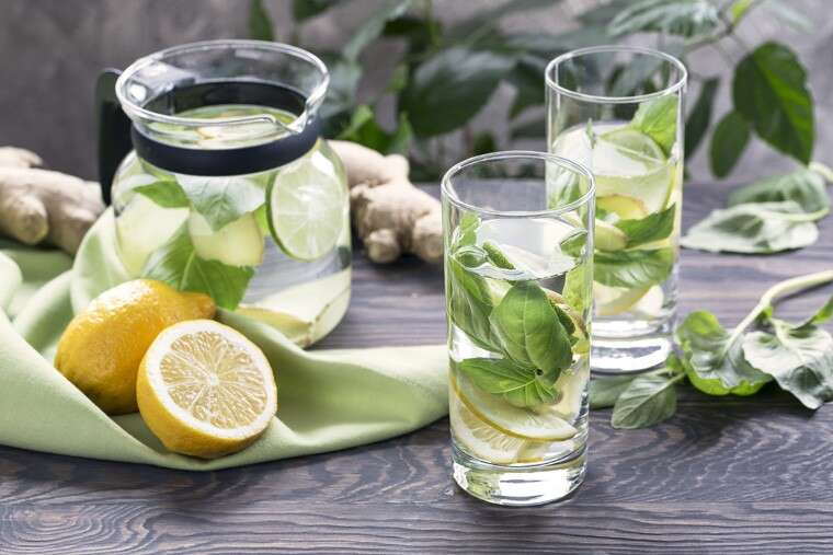 Lemon, basil and ginger