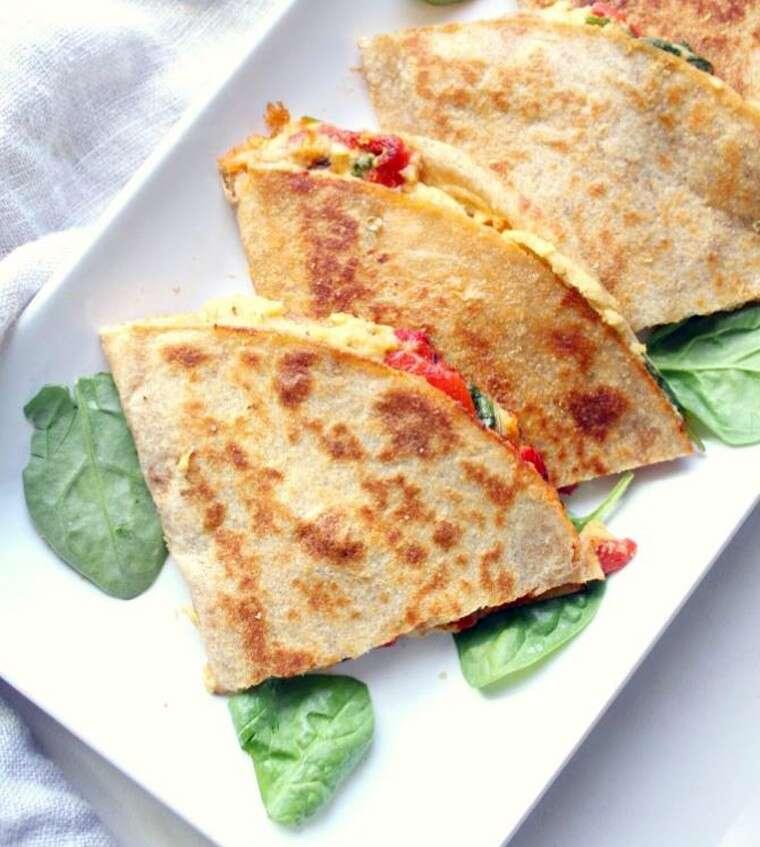 vegan hummus quesadillas.