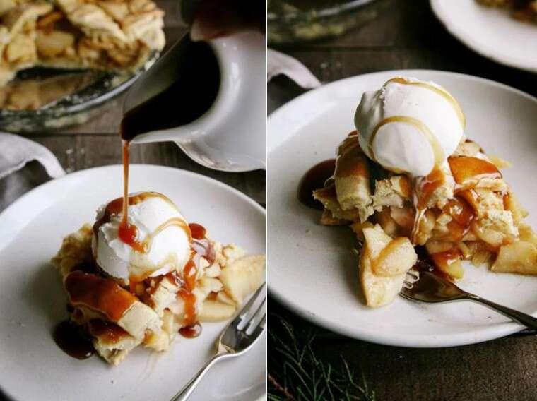 vegan version of salted caramel apple pie