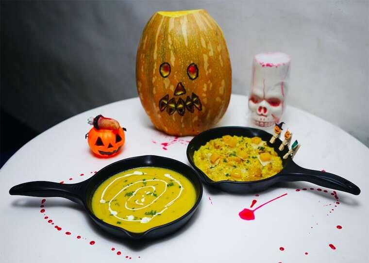 Pumpkin soup and pumpkin risotto at Blanco, Mumbai.