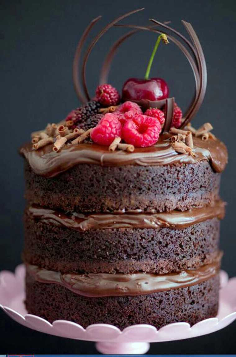 Naked chocolate and raspberry cake at by carolinouette83 at Pinterest.