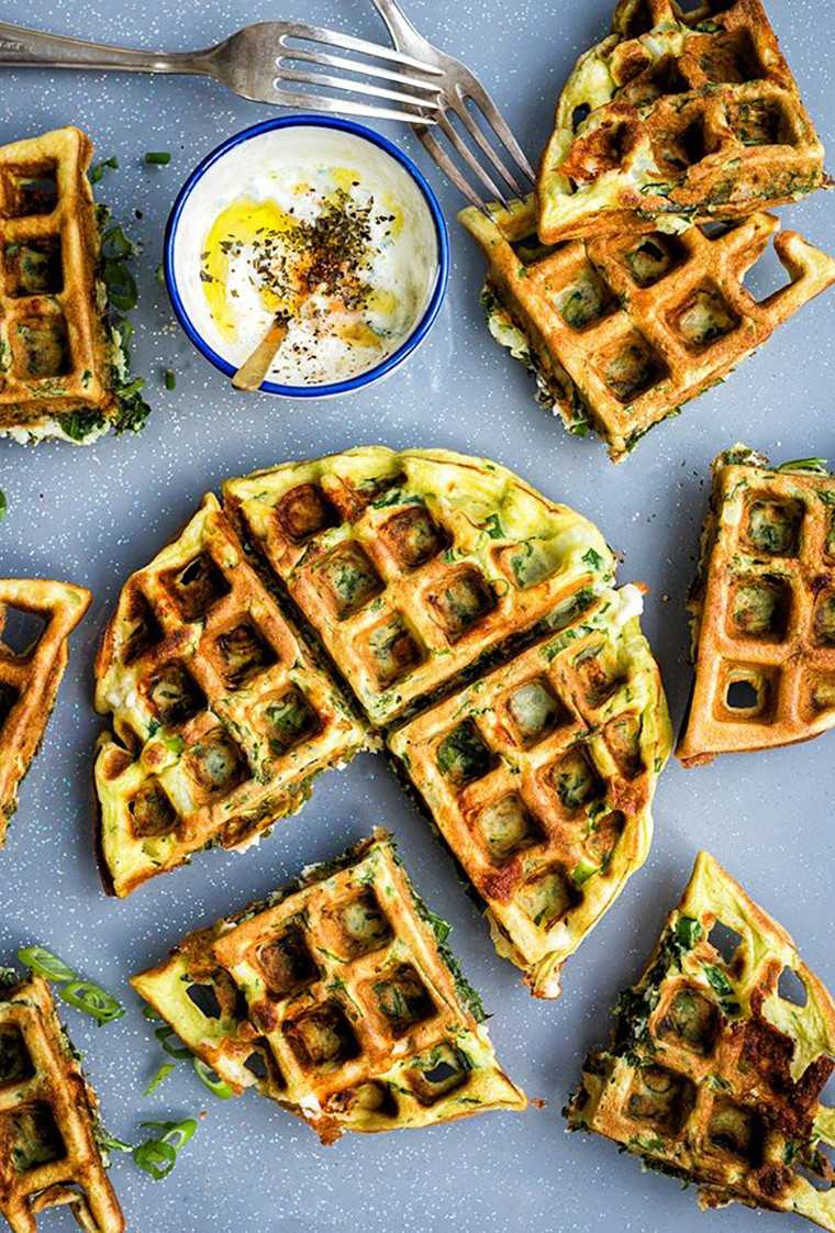 Spinach, potato and feta cheese waffle