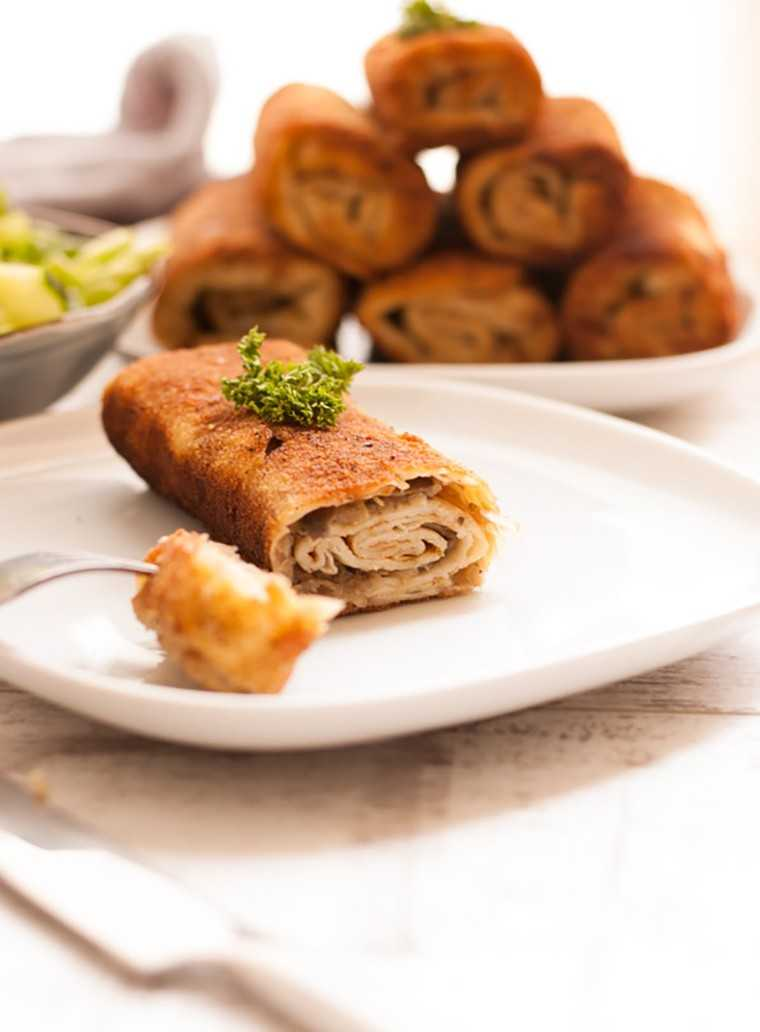 Cabbage and mushroom croquette with aquafaba